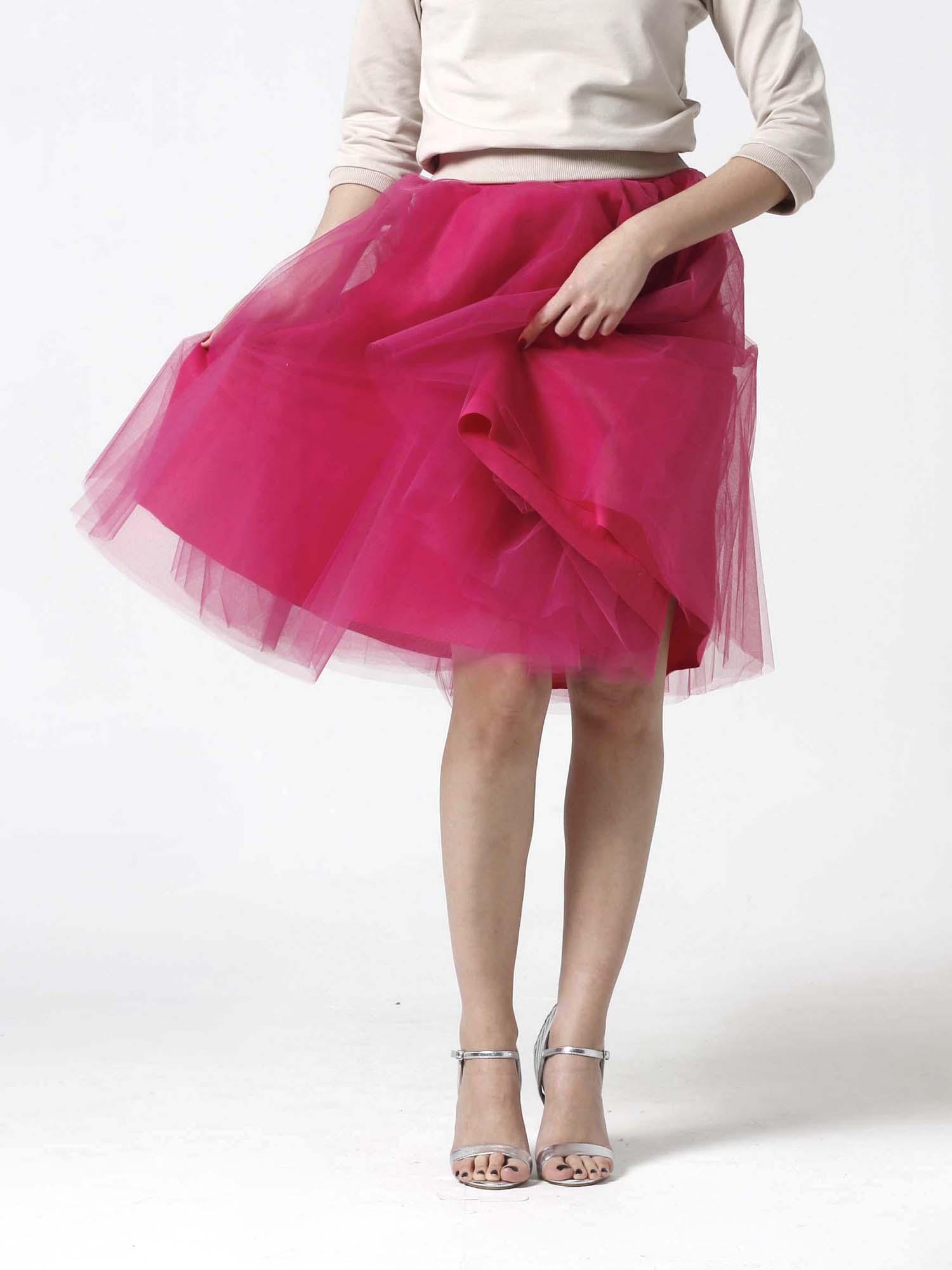 Tylová sukňa Midi sýto ružová - Zuzana Zachar 6ecfaf2841