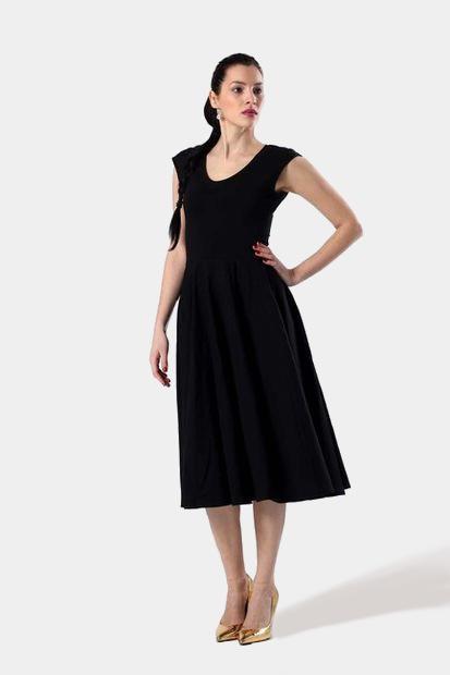 Midi šaty čierne - SuziShop 667e1856f87