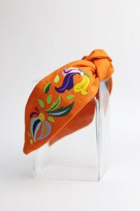 Čelenka oranžová vyšívaná