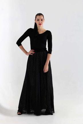 Dlhá šifónová sukňa čierna