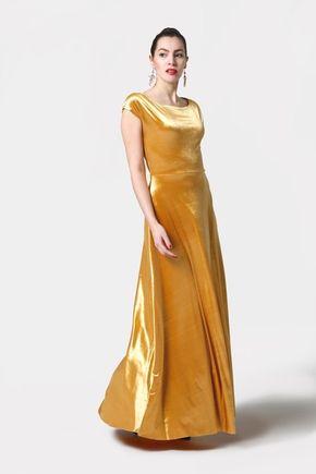 Dlhé šaty zamatové zlaté