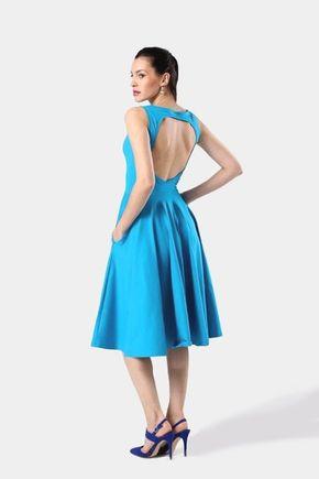 Midi šaty tyrkysové