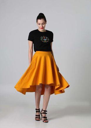 Midi sukňa asymetrická