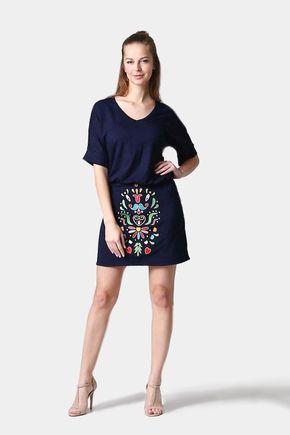 Mini sukňa vyšívaná modrá