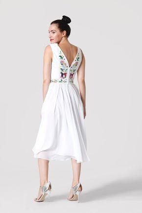 Šaty biele vyšívané so šifónovou sukňou