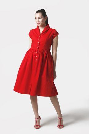 Šaty červené s límčekom a gombíkmi