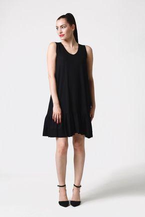Šaty čierne voľné s volánom
