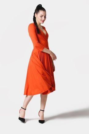 Šaty Cross Midi oranžové