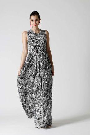 Šaty dlhé čierno biele