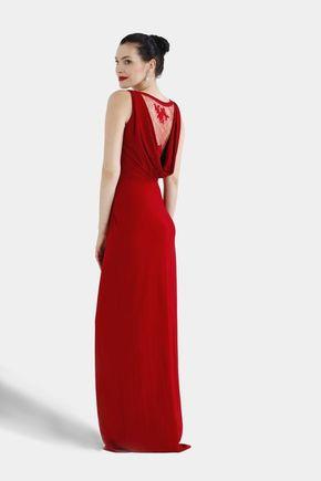 Šaty dlhé vínovo červené s čipkou
