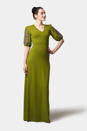 Šaty dlhé Joy zelené s vyšívanými rukávmi