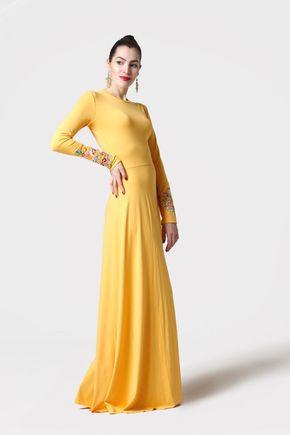 Šaty dlhé žlté s výšivanými rukávmi