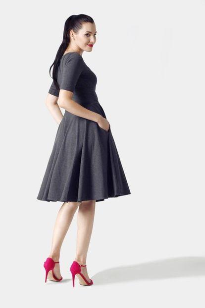 Šaty Midi s kruhovou sukňou tmavo šedé