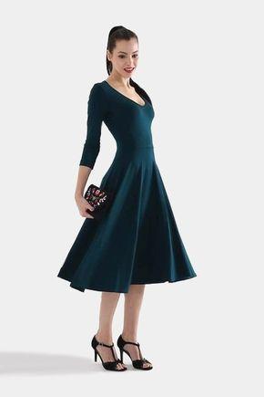 Šaty midi tmavo zelené