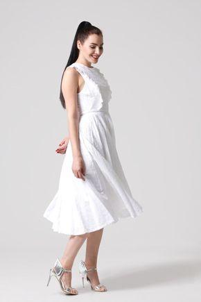 Šaty midi z bielej madeiry