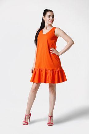 Šaty oranžové voľné s volánom