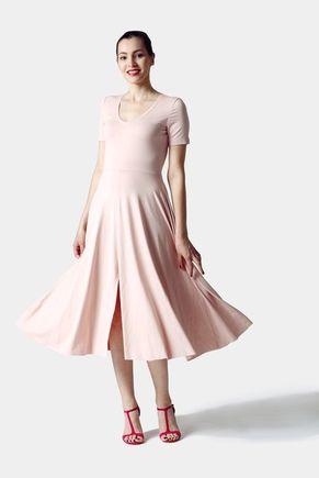 Šaty ružové midi s rázporkom