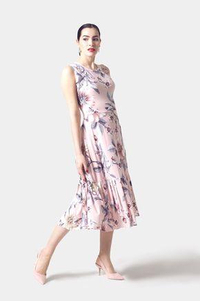 Šaty ružové so vzorom a volánom