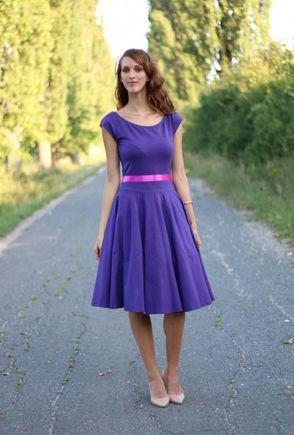 Šaty s kruhovou sukňou MIDI fialové
