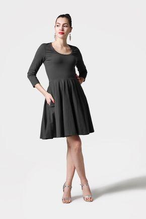 Šaty s kruhovou sukňou tmavo zelené