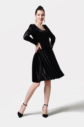 Šaty s kruhovou sukňou zamatové čierne