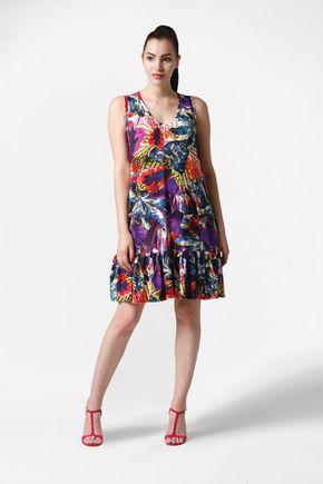 Šaty so vzorom a s volánom voľné