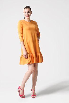 Šaty žlté voľné s volánom
