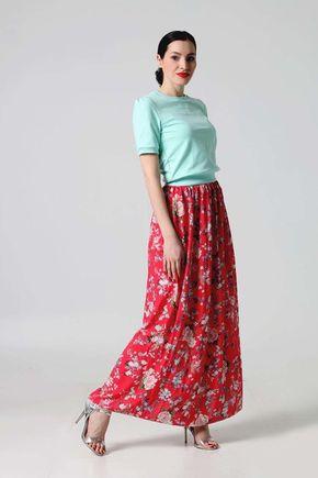 Sukňa dlhá červená so vzorom