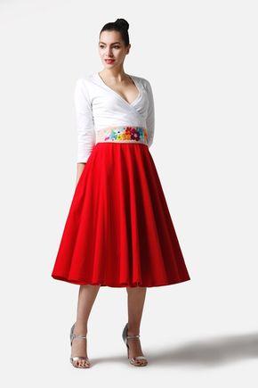 Sukňa kruhová midi červená