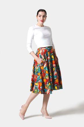 Sukňa kruhová midi s pestrofarebným vzorom
