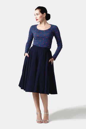 Sukňa kruhová tmavo modrá s vreckami
