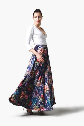 Sukňa zamatová dlhá modrá so vzorom