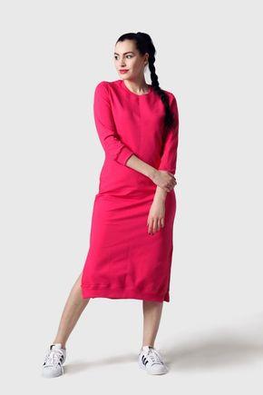 Teplákové šaty cyklamenové
