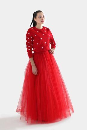 Tylová sukňa dlhá červená