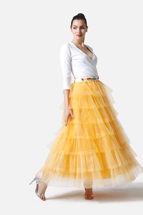 Tylová sukňa dlhá volánová žltá