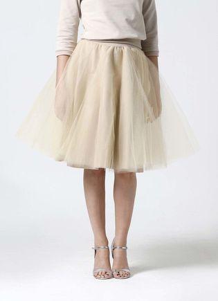 Tylová sukňa Midi béžová