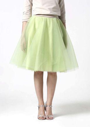 Tylová sukňa Midi bledo zelená