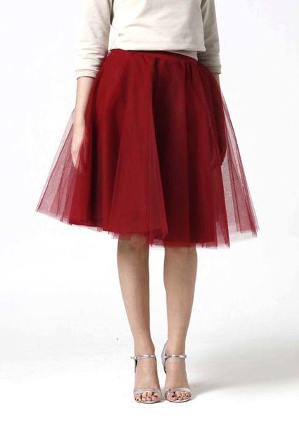 Tylová sukňa Midi bordová