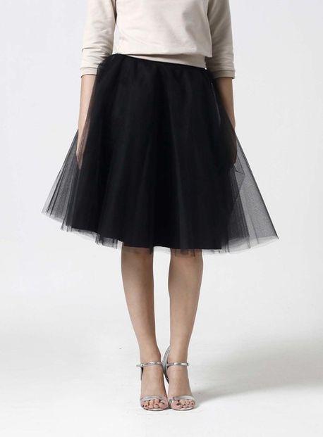 Tylová sukňa Midi čierna