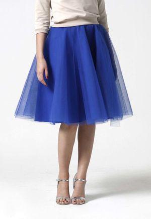 Tylová sukňa Midi kráľovská modrá