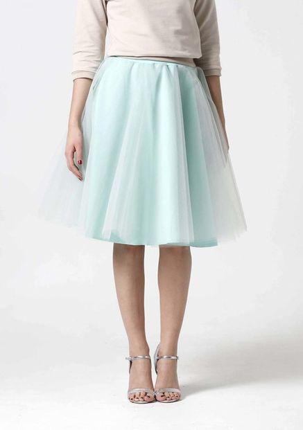 Tylová sukňa Midi mint