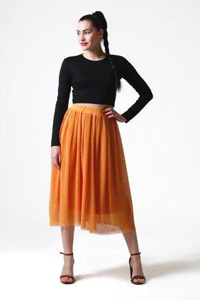 Tylová sukňa midi okrová
