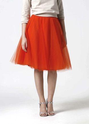 Tylová sukňa Midi oranžová