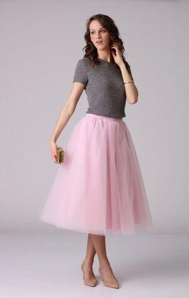 Tylová sukňa midi ružová
