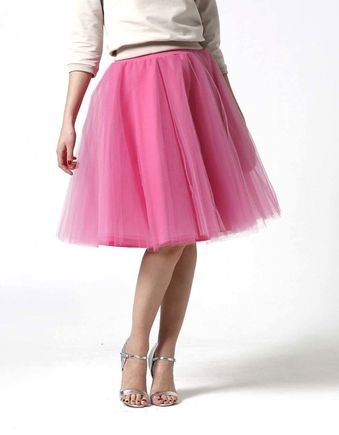 Tylová sukňa Midi sladká ružová