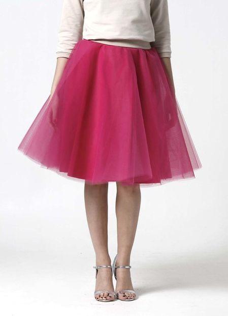Tylová sukňa Midi sýto ružová