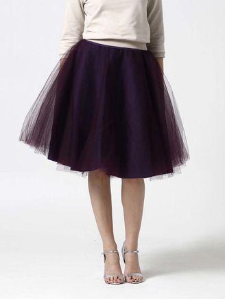 Tylová sukňa Midi tmavo fialová
