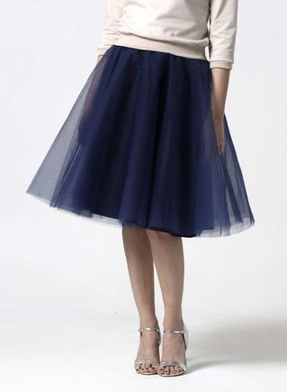 Tylová sukňa Midi tmavo modrá