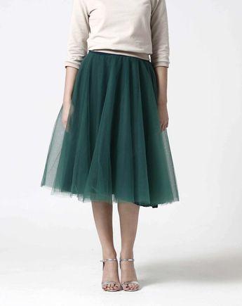 Tylová sukňa Midi tmavo zelená
