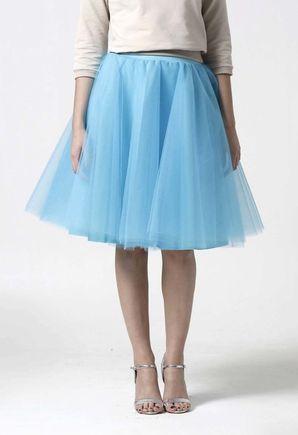 Tylová sukňa Midi tyrkysová